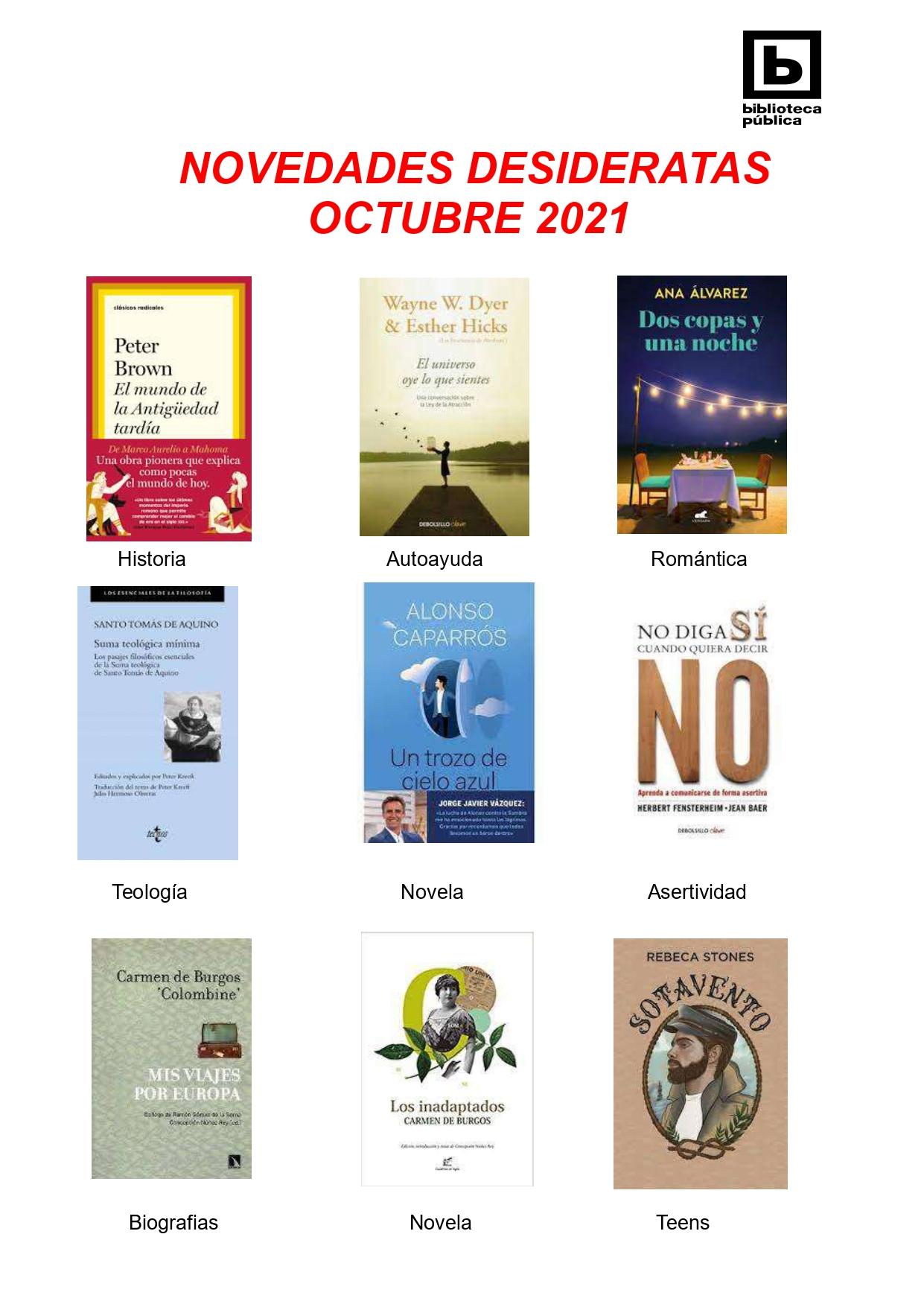 NOVEDADES DESIDERATAS DE OCTUBRE 2021
